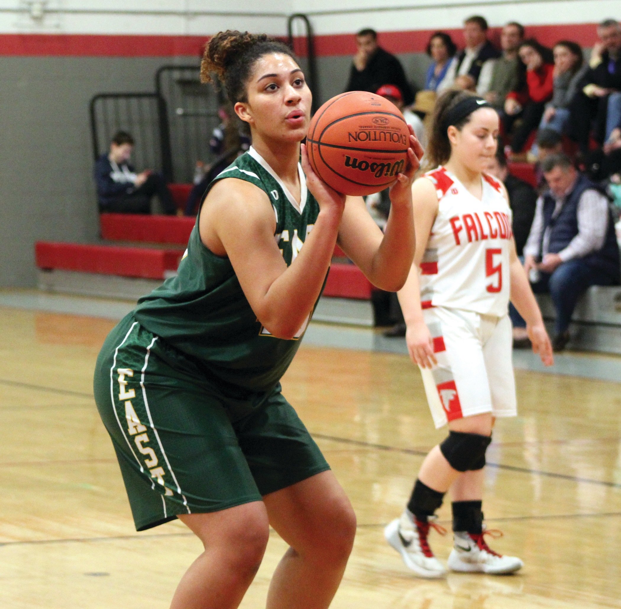 CHARITY STRIPE: East's Maia Caito steps to the line to attempt a free throw during the second half against West on Monday night. Caito led the way for the 'Bolts, posting a double-double with 15 points and 13 rebounds.