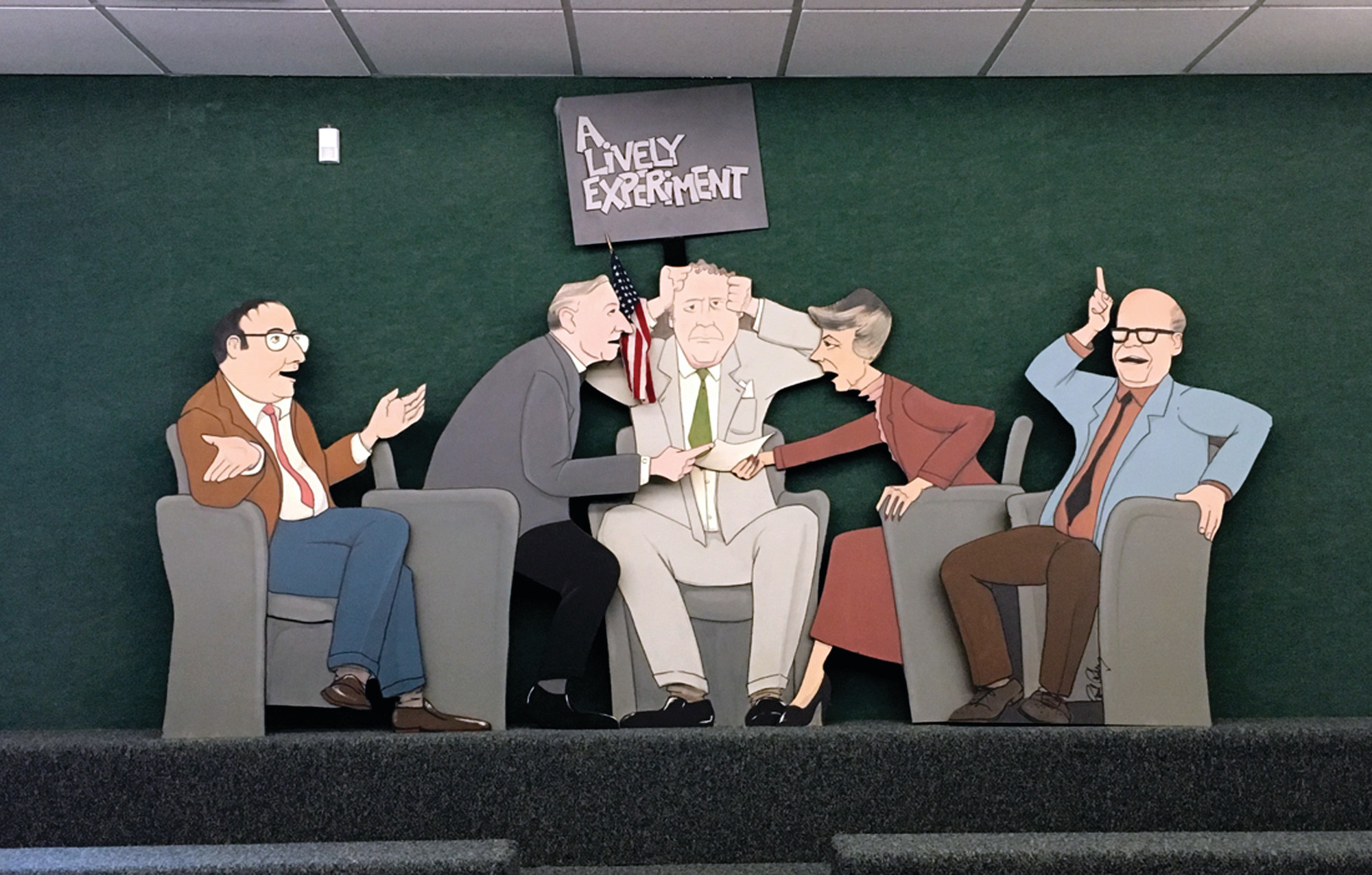 PANEL SKETCH: A caricature of Lively hangs on the wall of the lobby inside WSBE.