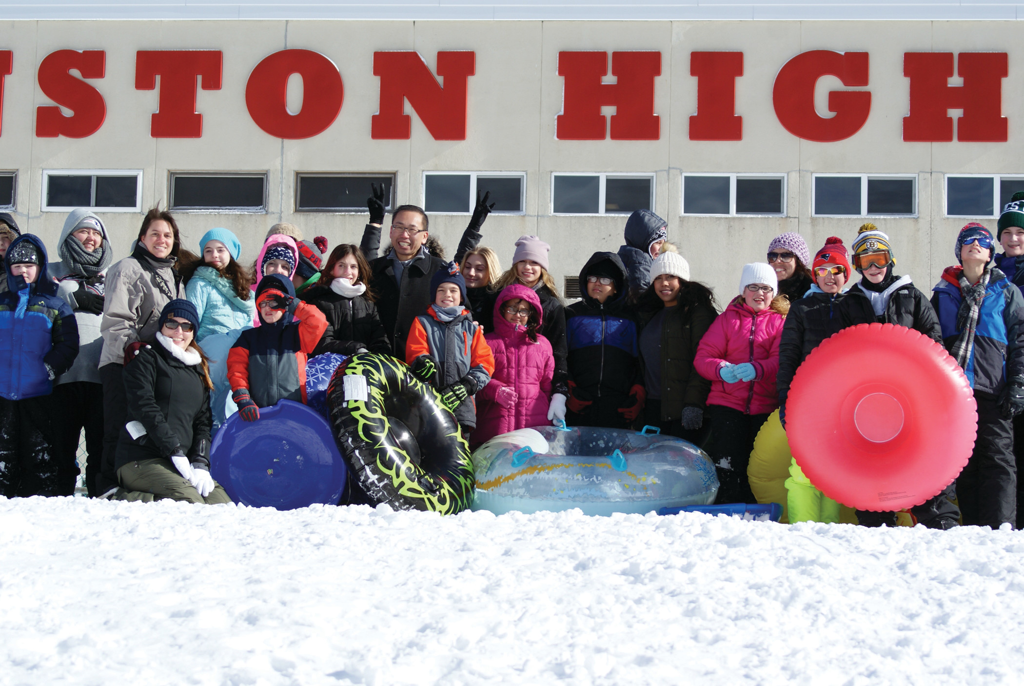 A SURPRISE VISITOR: Just as the BASICS Sled-a-Thon was about to begin, Mayor Allan Fung attended to cheer on the sledders and to meet both parents and students.