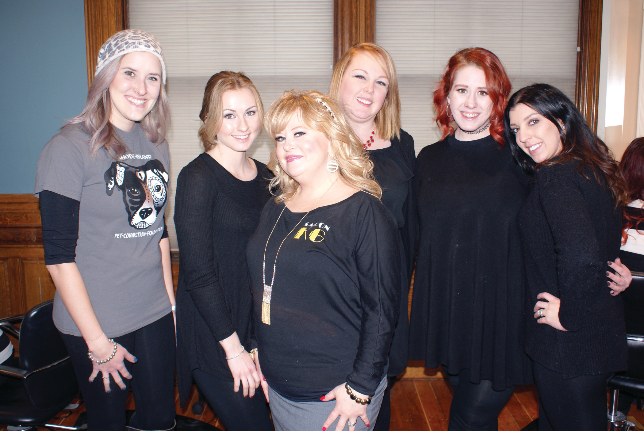 FOR A GOOD CAUSE: From left to right, Ashley Dietrick, Molly Cartier, Salon KG owner Kristin Greene, Alison Greene, Laura Philbrick and Karen Croce all volunteered their time on Sunday.