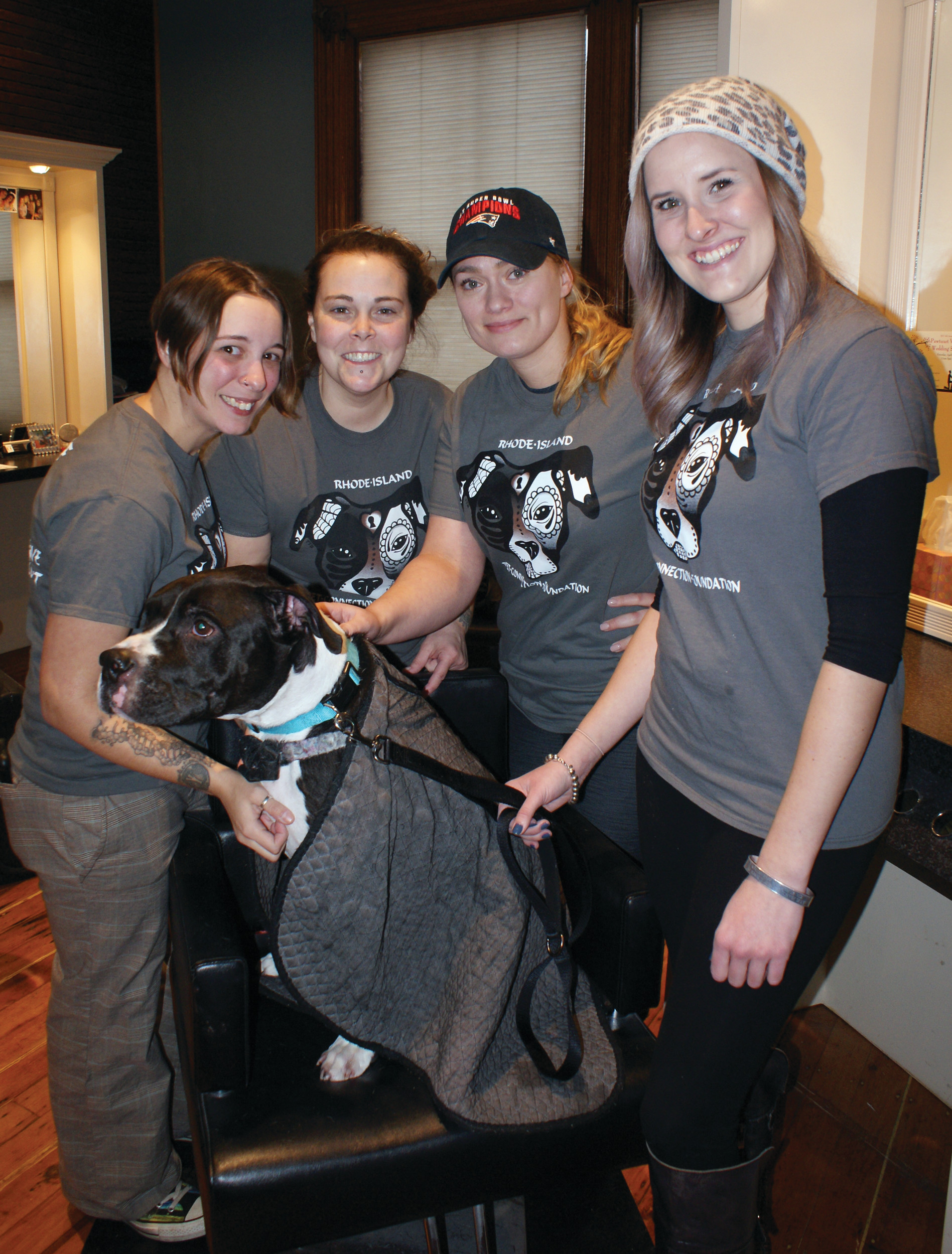 MEET SOLOMON: Stephanie May, Tiasa Loignon, Annette Folco and Ashley Dietrick are pictured with 8-9-year-old Solomon.