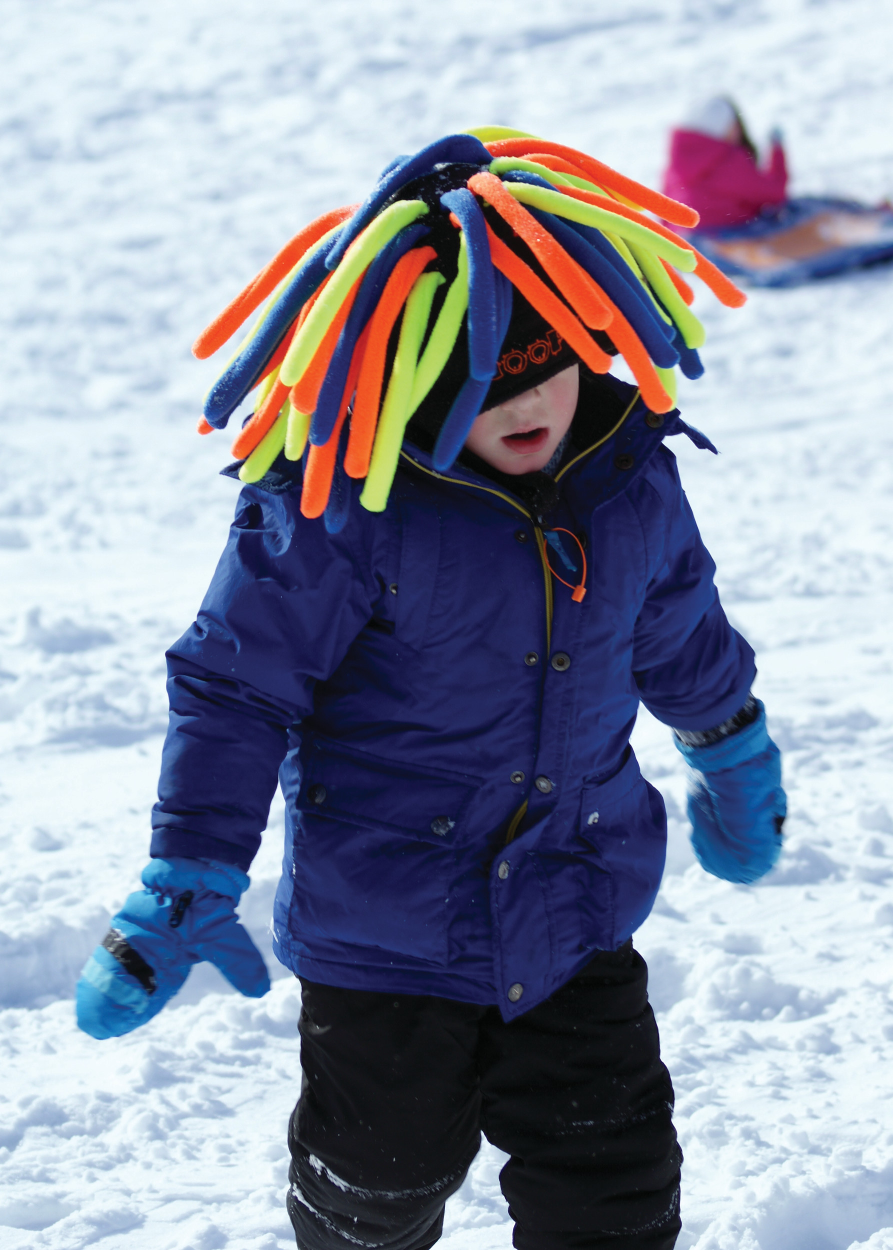 FUNKY HAT: Young Johnny Durante, age 4, is pictured in his colorful hat as he climbed up the hill at Cranston High School West.