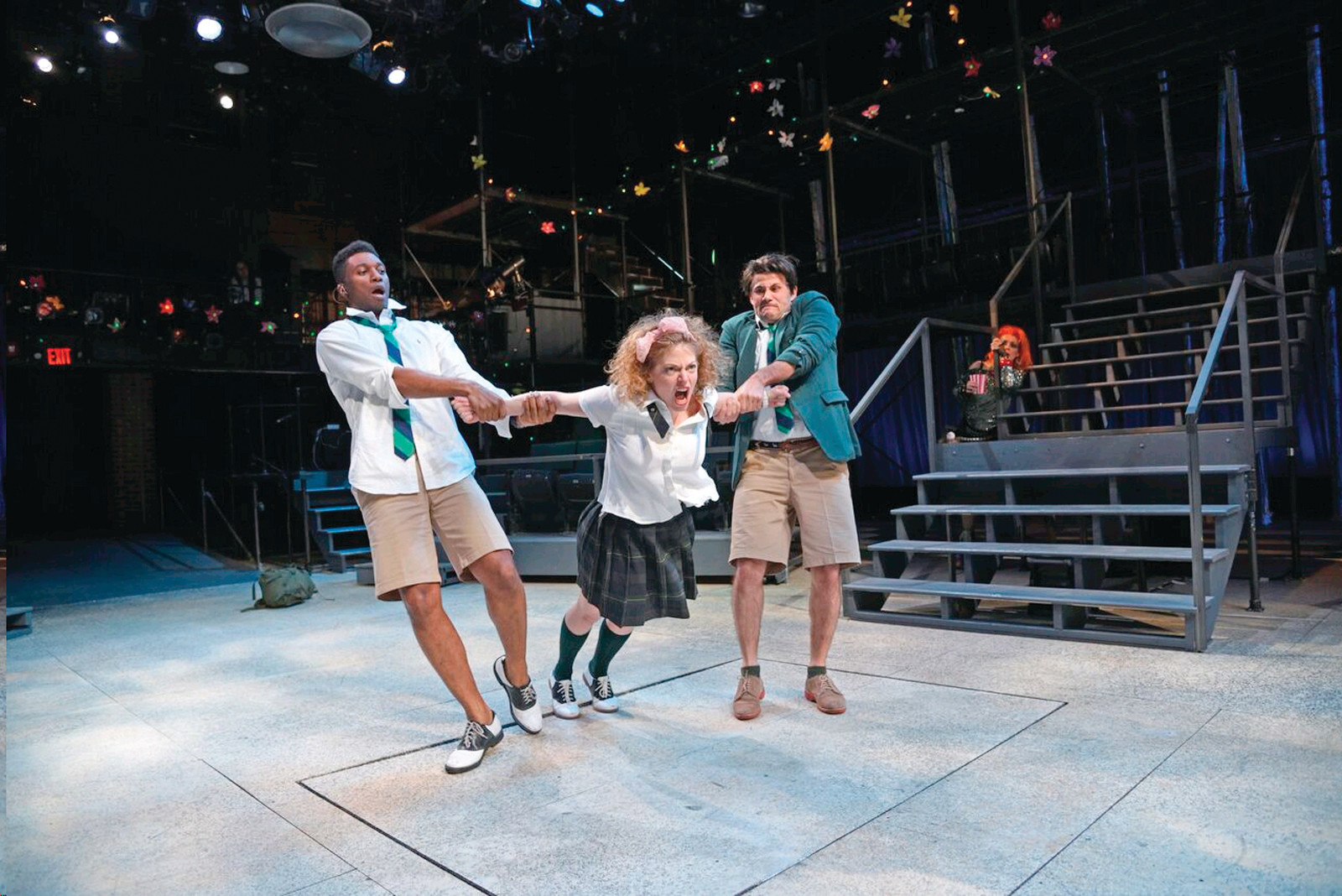 From left to right: Jude Sandy as Demetrius, Rebecca Gibel as Hermia, Daniel Duque-Estrada as Lysander, Rachael Warren as Puck.