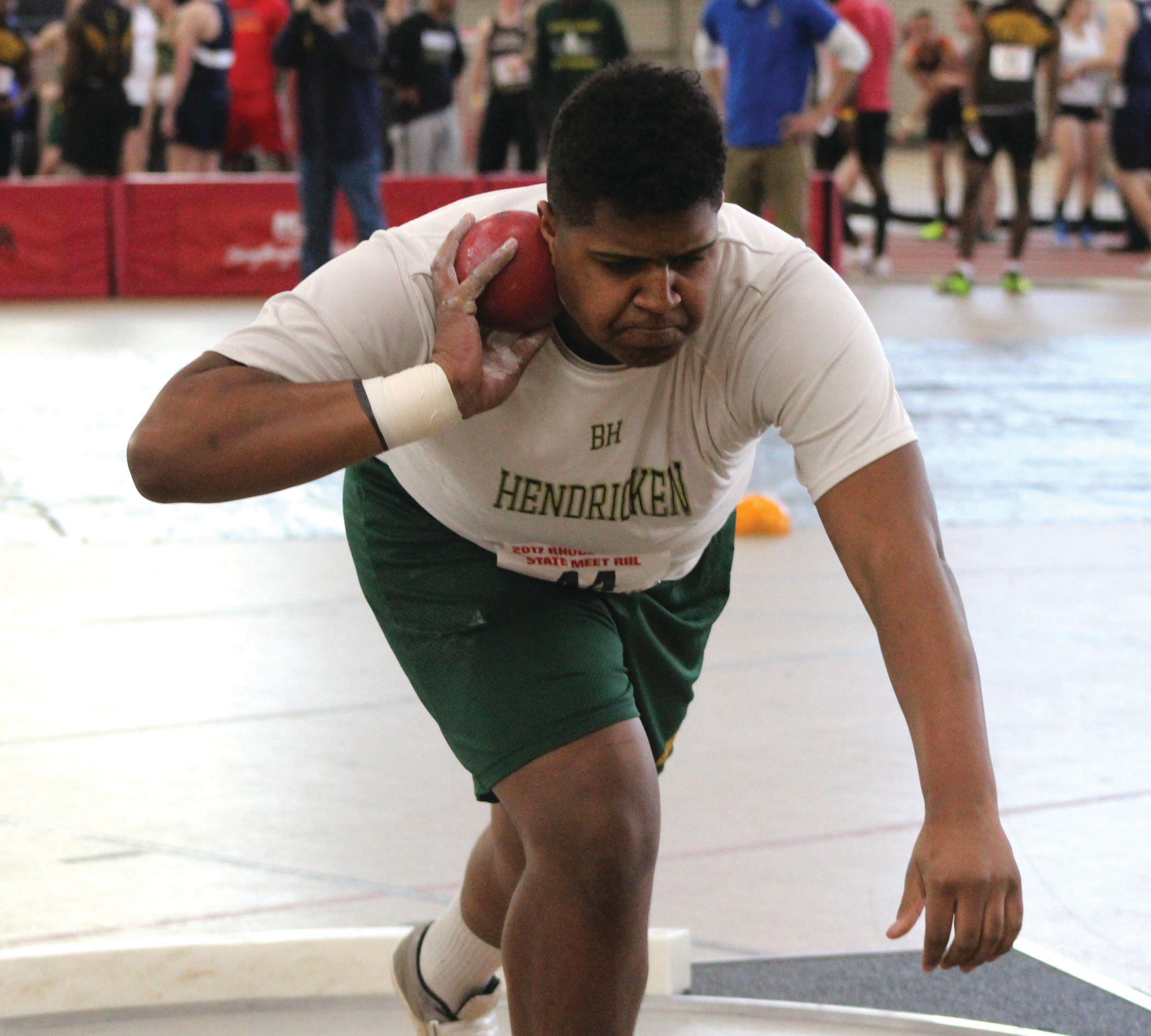 Sophomore Xavier Truss took second in the shot put.