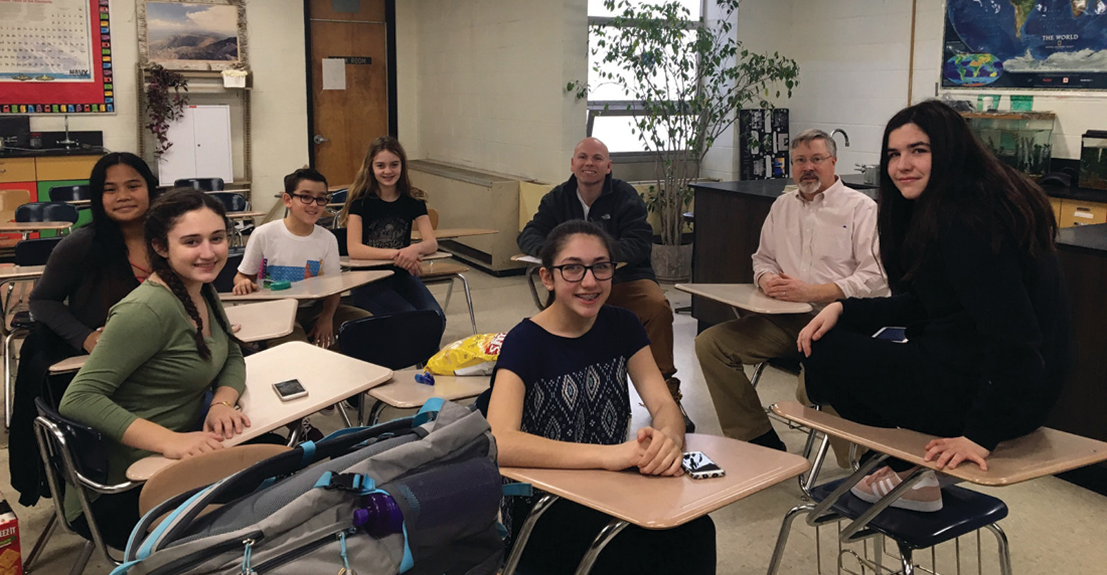 A HARD-WORKING GROUP: The Greenhouse Effect team consists of students Elizabeth Cowart, Julia Deal, Eric Garcia, Ava Kavanagh, Leah Phann and Jordan Simpson, and they work under the supervision of STEM Club faculty advisors Michael Blackburn and John Worthington.