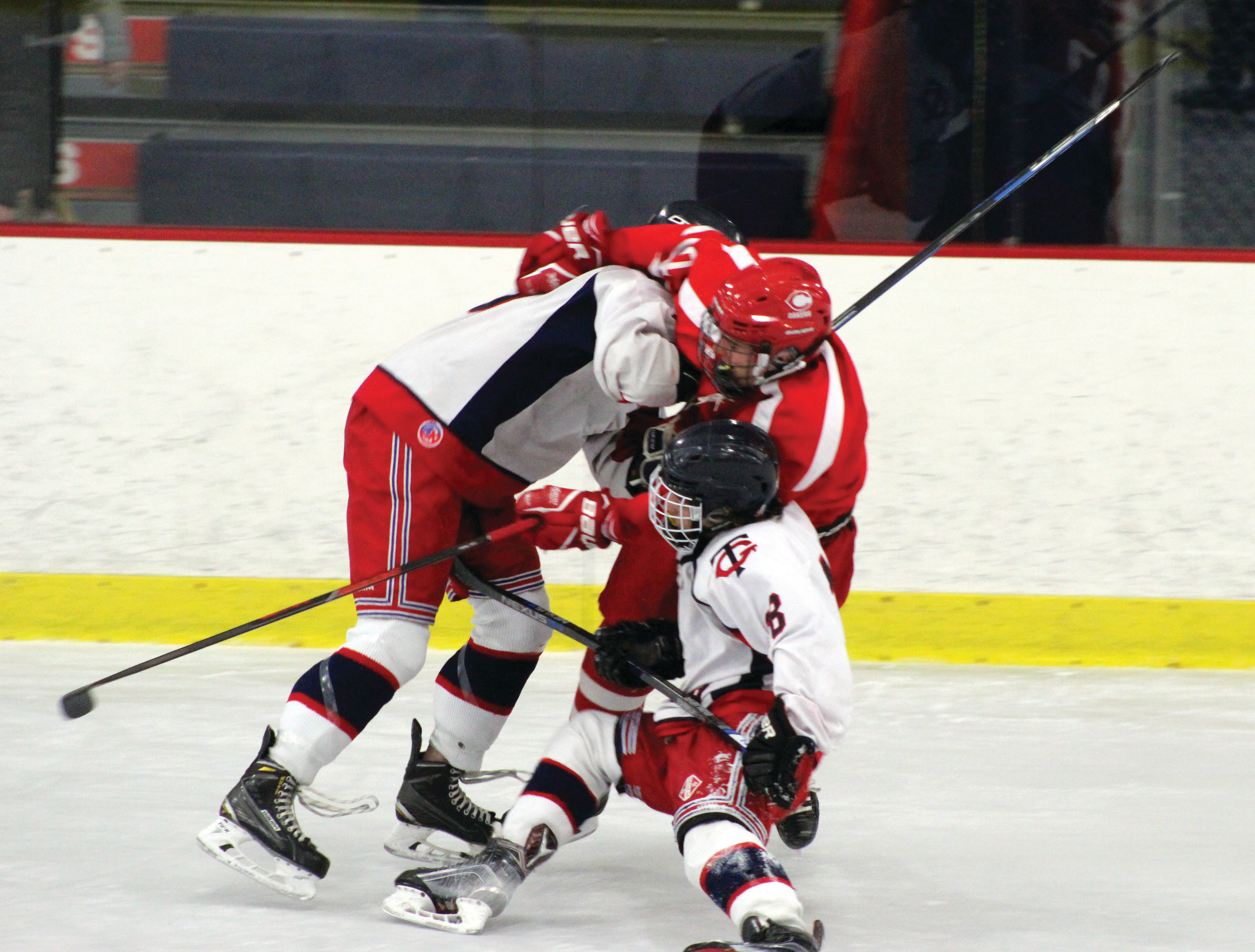 COMING UP SHORT: Toll Gate lost 5-0 and 2-1 on Saturday and Sunday in the Division II boys hockey semifinals, as top-seeded RMR secured a spot in the division finals. Jack Dean (8) netted the Titans' lone goal in the series.