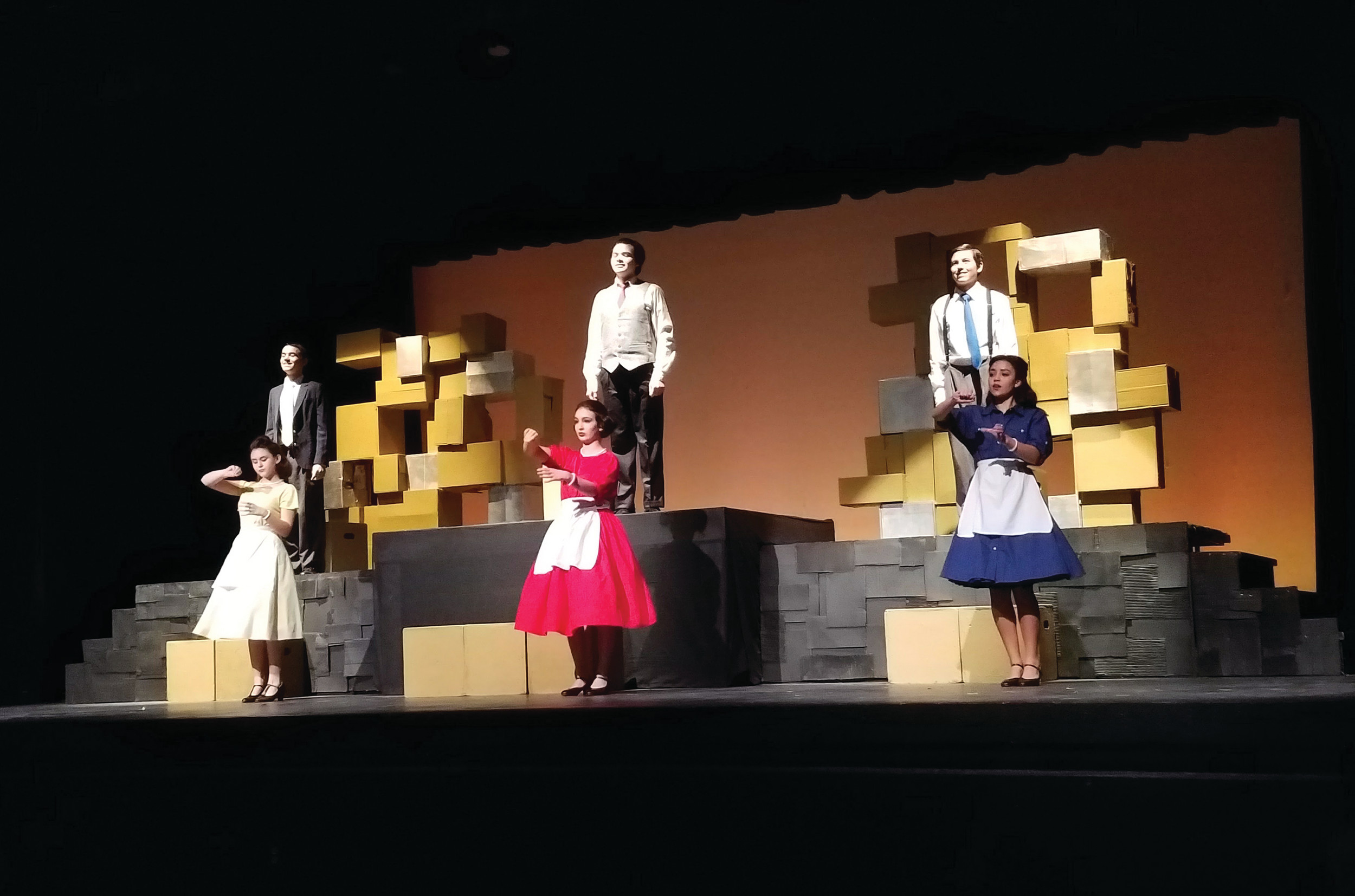 MASTERS OF THE STAGE Above Cranston Wests Drama Club Acts Out A Scene From