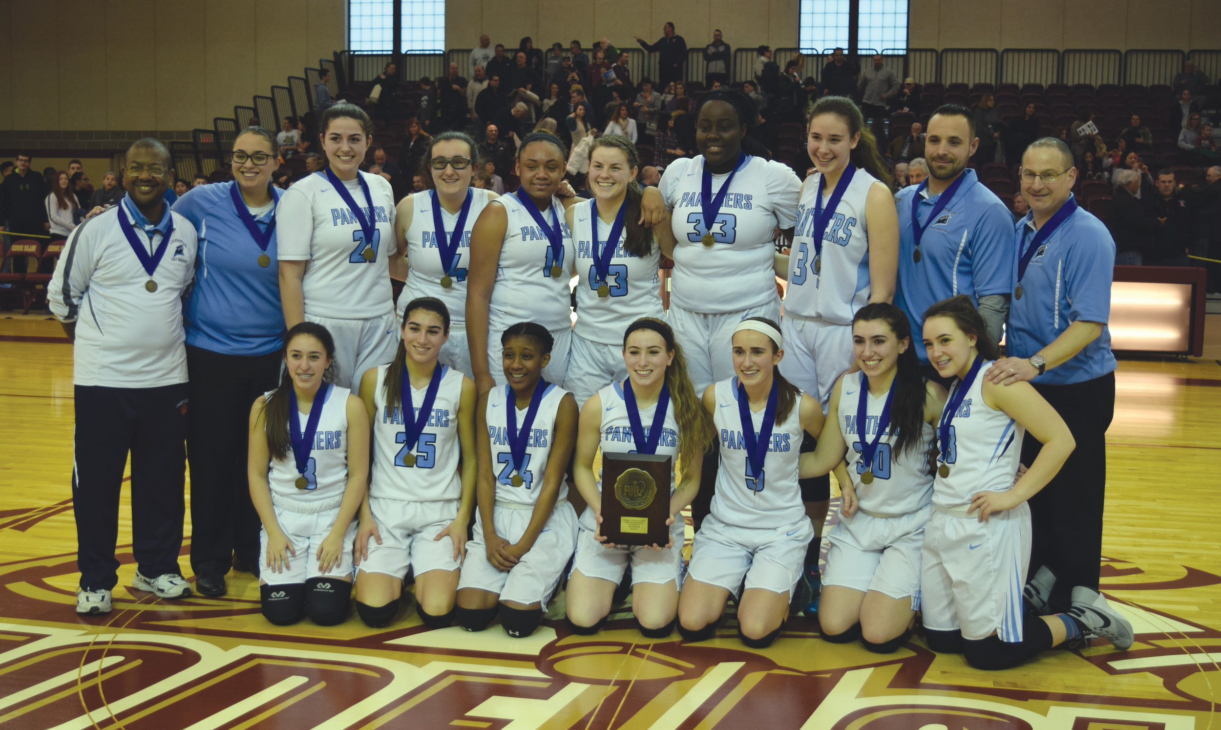 WIRE-TO-WIRE: The Johnston girls' basketball team captured its first championship since 2002, defeating East Providence, 60-46, on Saturday at Rhode Island College for the Division II crown. The Panthers finished their undefeated season with a contest they led from beginning to end behind a game-high 15 points from junior Jordan Moretti. Their efforts earned them the No. 3 overall seed in the state tournament that opened Wednesday