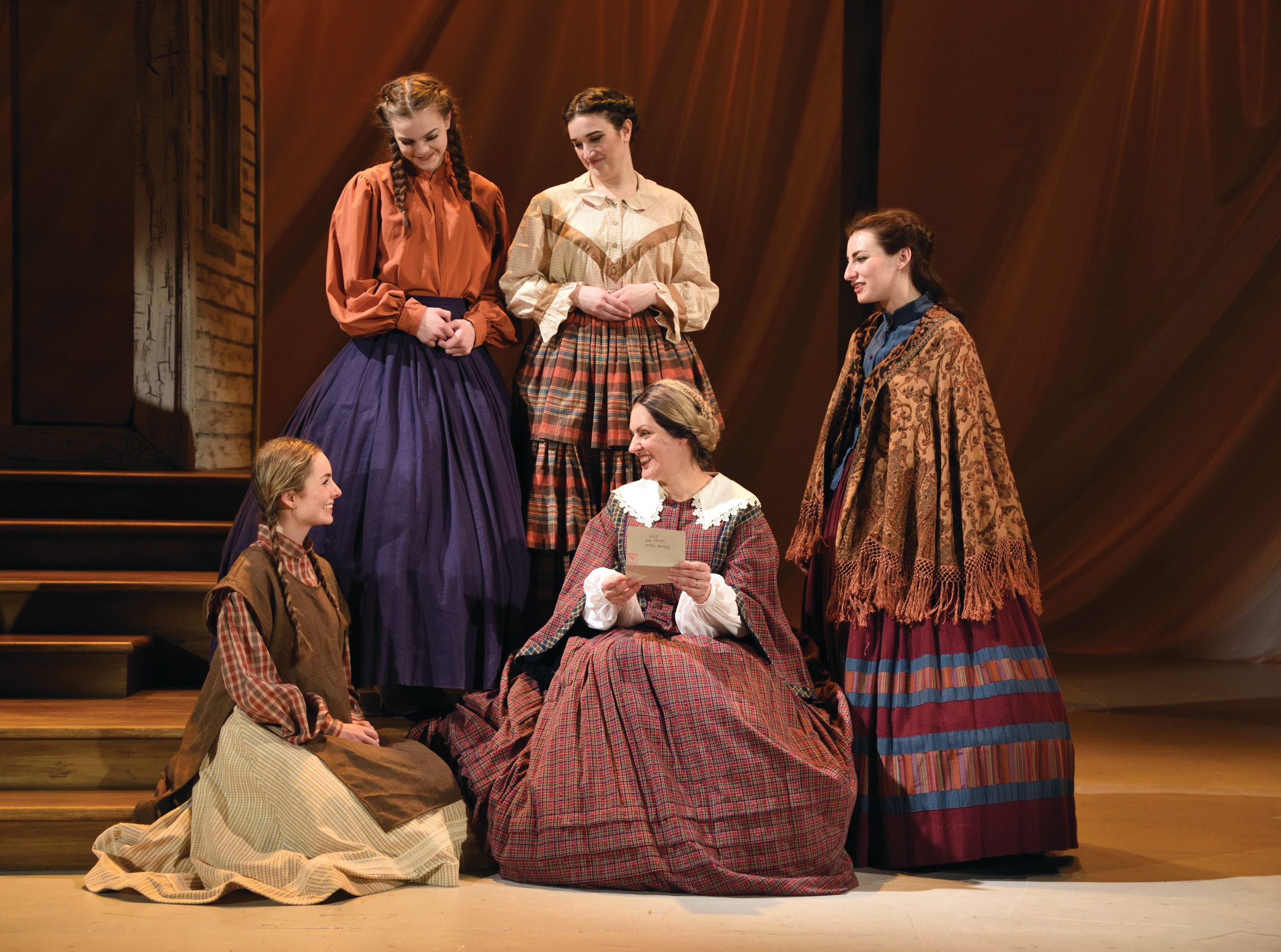 "(sitting from left) Abigail McMahon, Amiee Turner, (standing from left) Bryn Martin, Alison Novelli and Tess Jonas star as Amy, Marmee, Beth, Meg and Jo in the heartwarming, family-friendly musical, ""Little Women: The Musical,"" which is on stage at Ocean State Theatre in Warwick through March 19. For tickets call 921-6800 or visit 