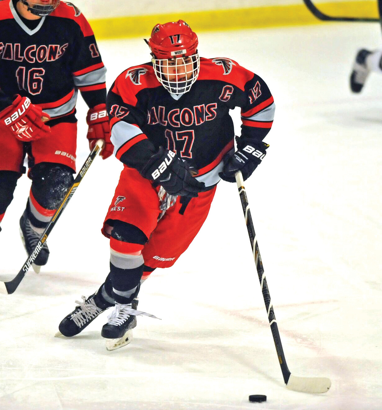 Jacob Pagnozzi skates the puck out of his defensive zone.