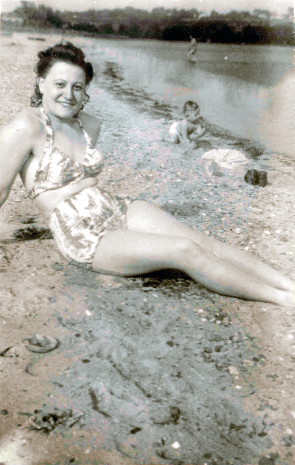BEACH BABE: Agnes as pictured on the beach on August 23, 1942.