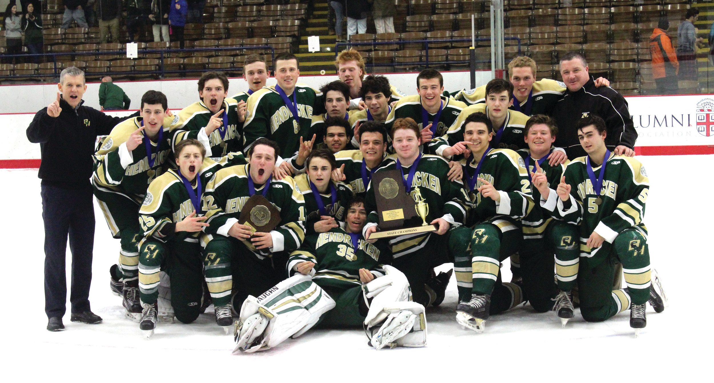 SWEEP: The Hendricken hockey team swept La Salle with 5-4 and 3-1 victories to capture the state championship.