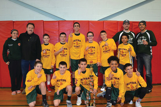 CHAMPS: The CLCF 6th-grade boys basketball squad cruised to a state title, defeating Portsmouth, Johnston and West Warwick to win the Gold Division. First row, from left to right: Ryan Dionizio, Mike Paquette, Randy Guzman, Marcus Chung and Lorenzo Flores. Second row, from left to right: Assistant Coach Mikeicha Malloy, Head Coach Mike Malloy, Nick D'Amore, Peyton Ginolfi, Mikellen Malloy, Jacob Shepherd, Lucian Spremullo, Chris Feliz, Coach Gary Spremullo and Coach Diogenes Capellan. Not pictured: Jake Murray. (Submitted photo)