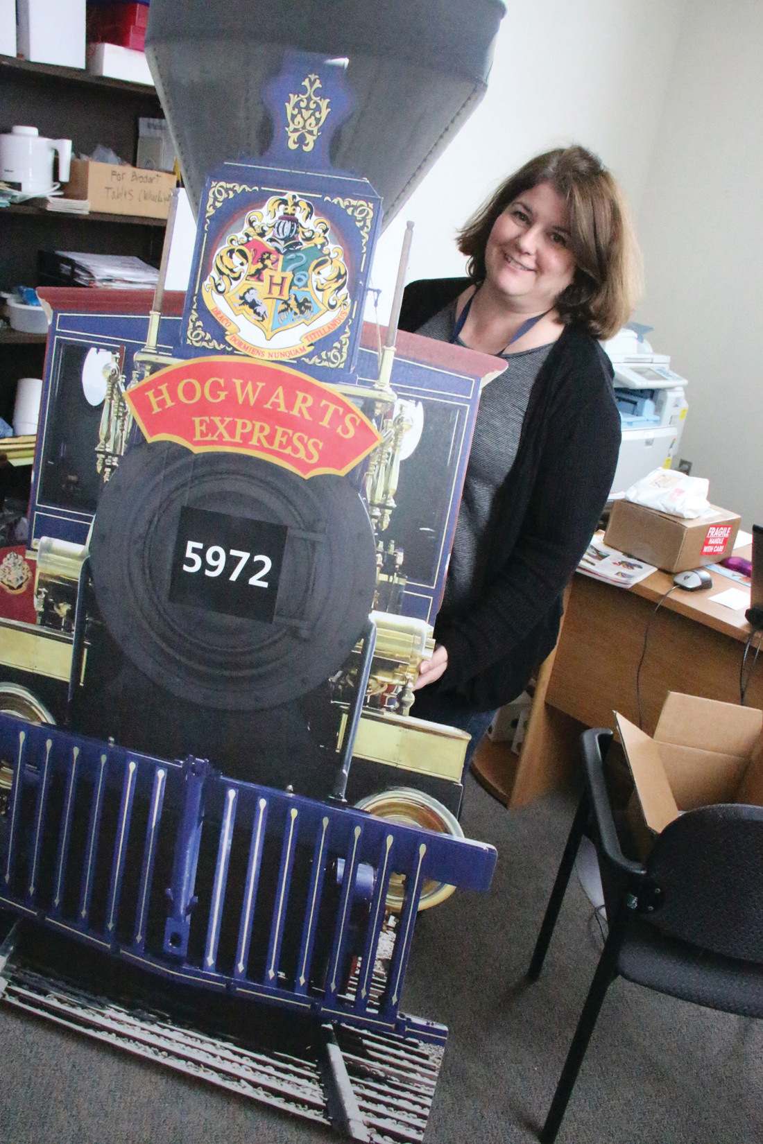 ALL ABOARD: Librarian and wizard Pam Miech is ready to board the Hogwarts Express.