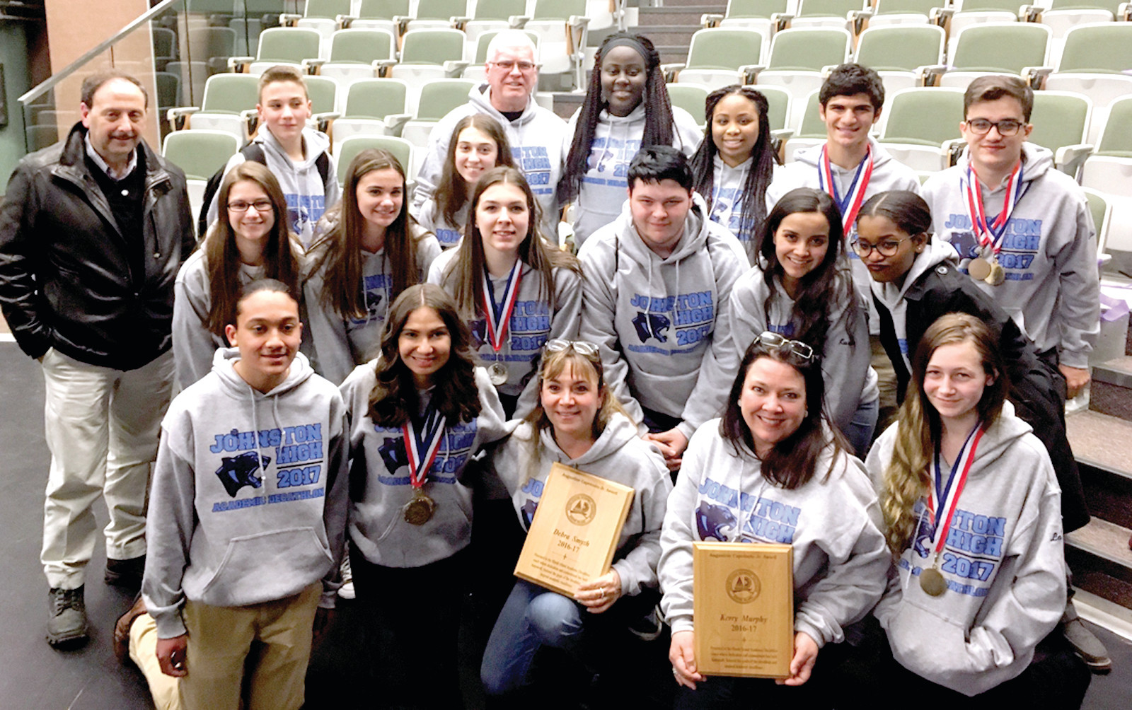 ANOTHER SUCCESSFUL YEAR: The Johnston Academic Decathlon team, joined by Superintendent Bernard DiLullo and Principal Dennis Morrell, placed fourth out of 15 schools during the 34th Rhode Island Academic Decathlon competition.
