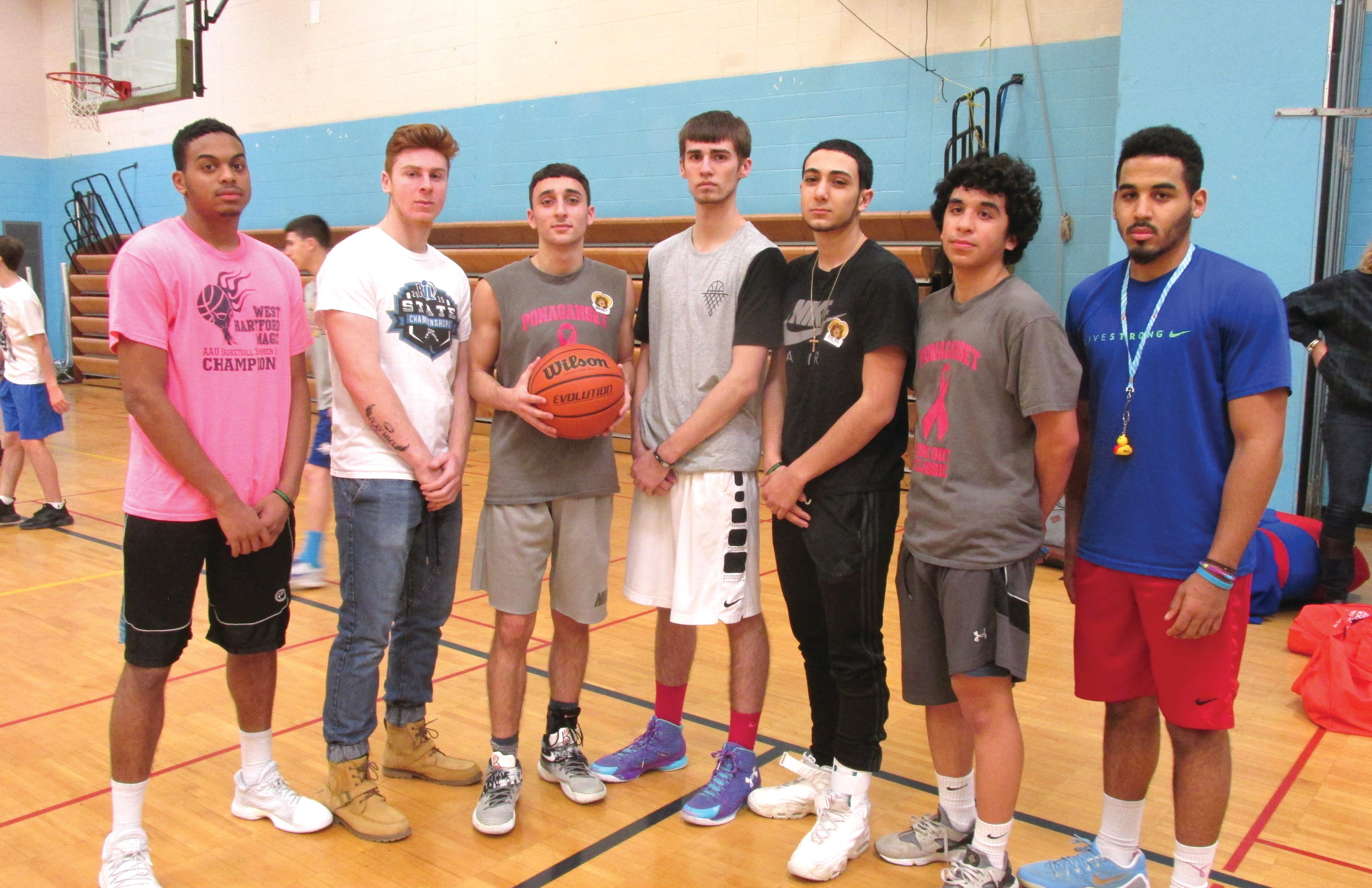 GREAT CAUSE: Among the Johnston High School basketball players who helped raise $2,700 during last week's annual Hoops for Heart event were: Nas Vasquez, Kyle Nelson, Nick Mollicone, Ryan Yankee, Mike Pilkington, Jaxon Tavares and Noah Jean-Laurent.