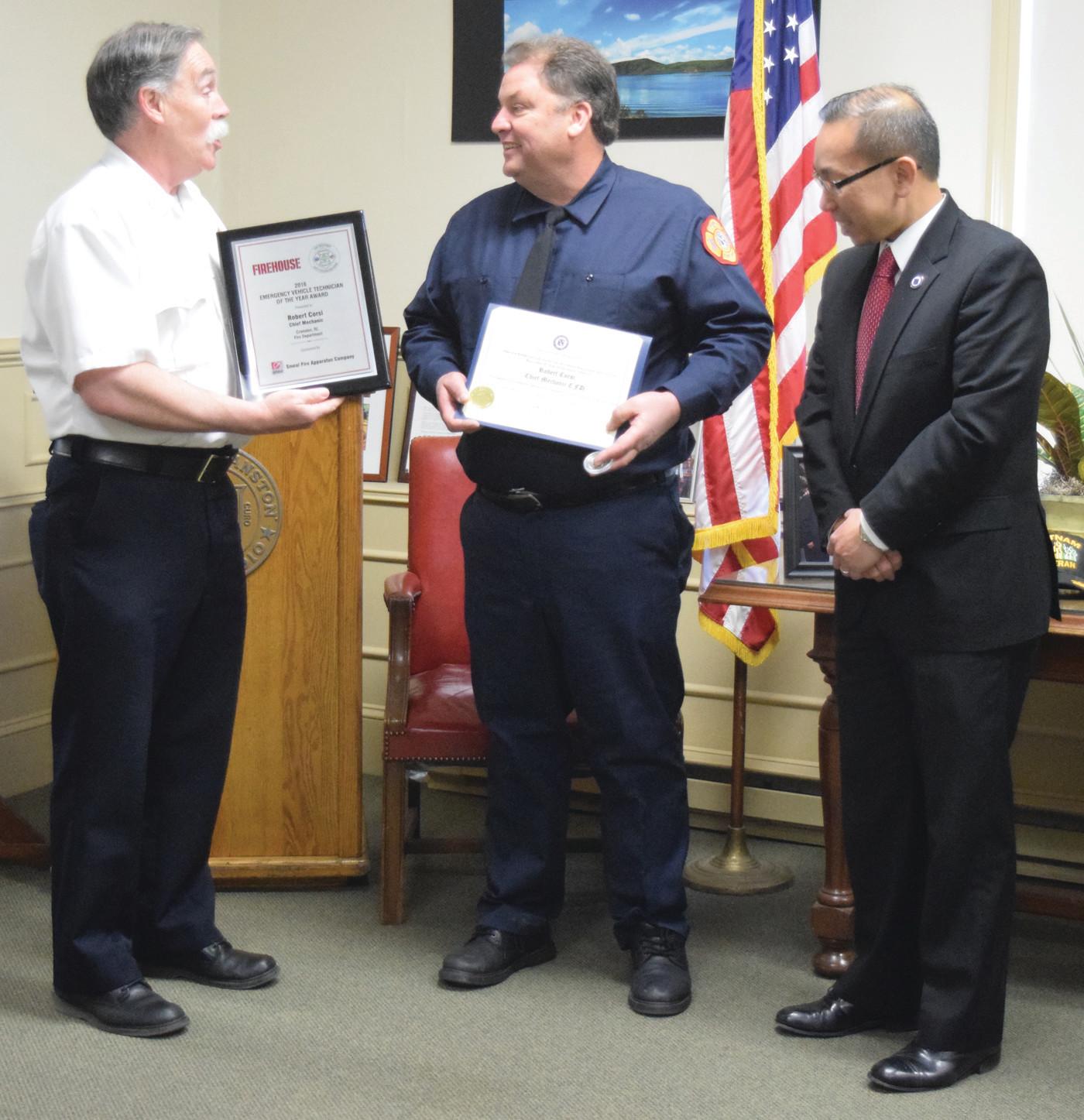 CFD's Corsi named Emergency Vehicle Technician of Year | Warwick Beacon