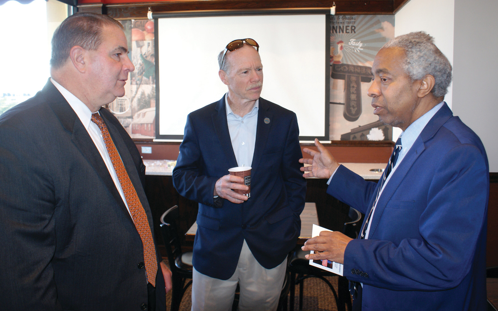 NETWORKING: Pictured are Cranston Chamber President Steve Boyle, Executive Director for RIPIN (Rhode Island Parent Information Network) Stephen Brunero and Executive Director of Stages of Freedom, Ray Rickman at the April 18 Cranston Chamber Coffee Connections at the Corner Bakery.
