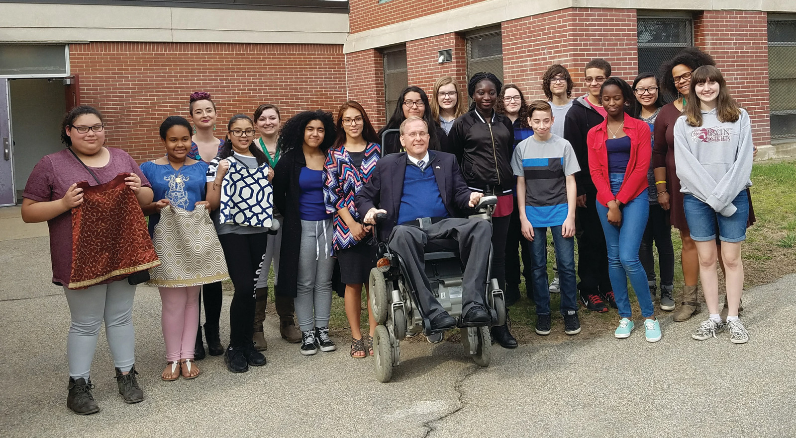 WELCOME TO BAIN : The Youth Empowerment Zone's student leadership team at the Bain extended day program greeted Congressman Jim Langevin when he visited them at Hugh B. Bain Middle School last week.