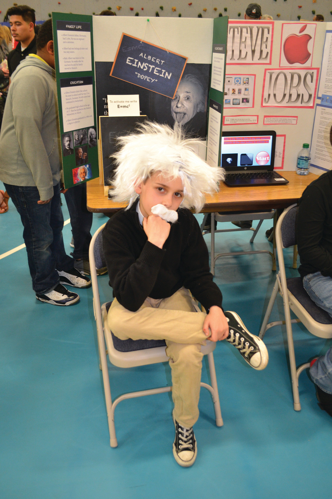 GENIUS AT WORK: Luke DaPonte wore an impressive white mustache and wig to get in character as Albert Einstein.