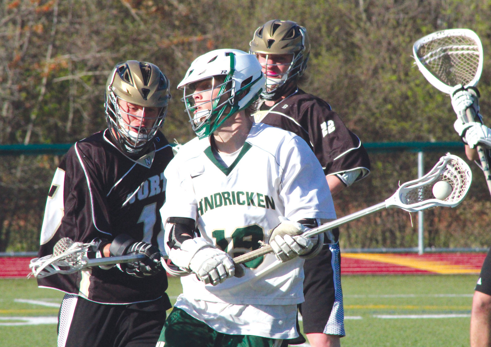 TOUGH TO CONTAIN: Dylan McSparren scored six goals as Hendricken defeated North Kingstown on Tuesday, 12-9.