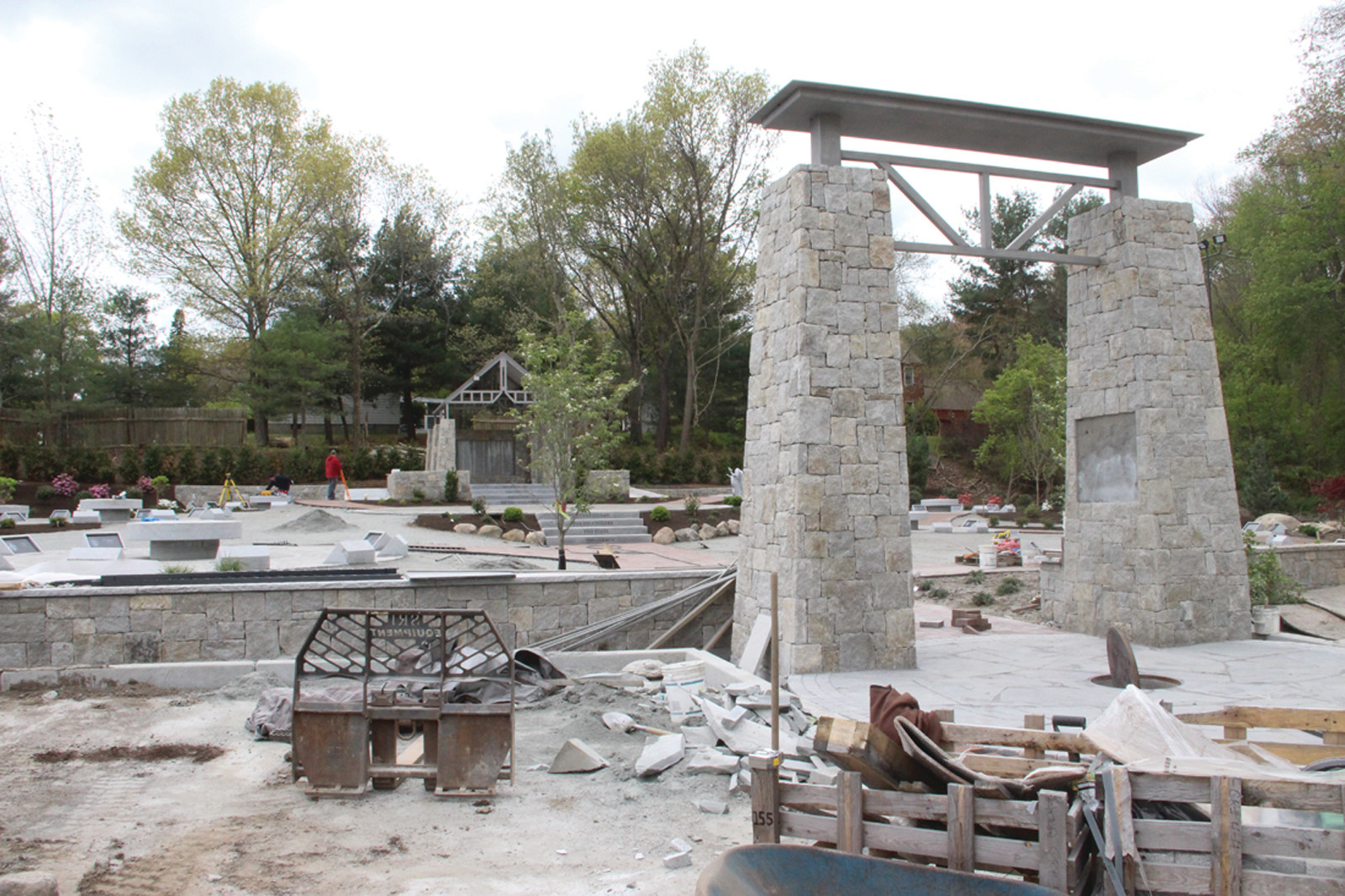 GATEWAY: Stone pillars serve as the entrance to the park. There is limited parking at the park that will be accessible year-round. The fundraising campaign included the creation of reserves to maintain the park in the years to come.