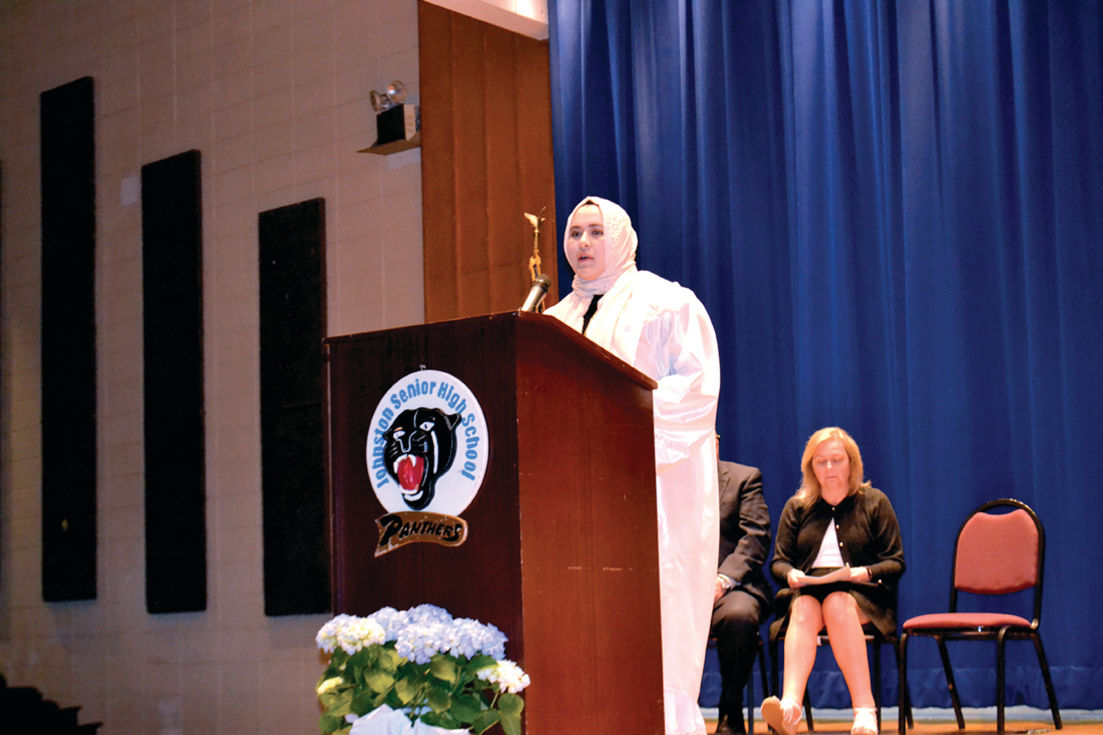 SAYING GOODBYE: Outgoing NHS senior president Nour Abaherah told inductees that she will remember making a difference by being a part of the organization.