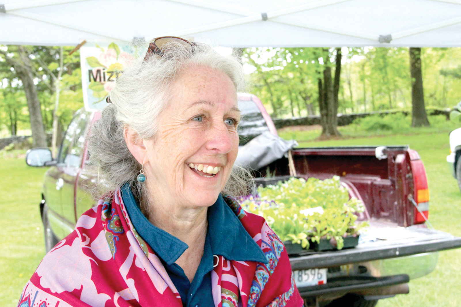 MARKET PROMOTER: Linda Blaney of Mizpah Farm in Exeter has a comparatively small farm  4 acres  but has been a long time advocate of the farmers market movement. She's a regular at the Goddard Park market that is open Fridays from 9 a.m. to 1 p.m. In addition to land produce, she sells Rhode Island grown kelp.
