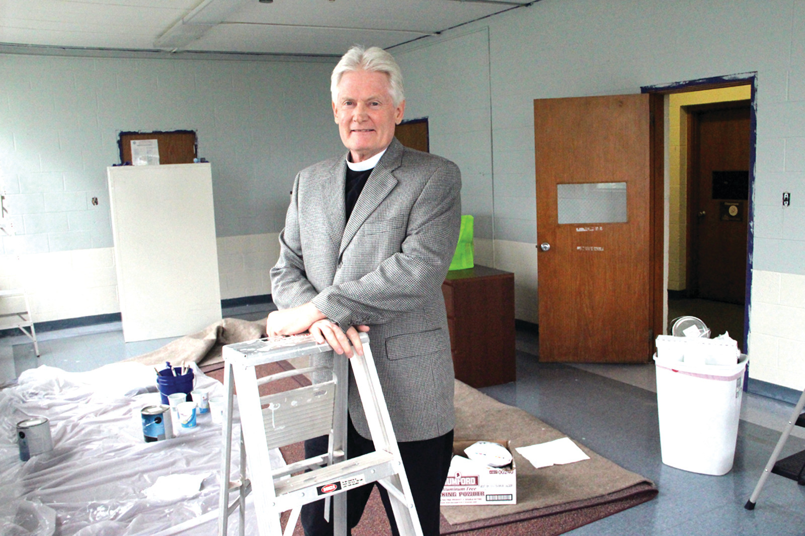 NEW HOME: Rev. Mitch Lindeman of Trinity Church in Cranston in the room that will house the Or Chadash Congregation. In a ceremony that will include a procession through Pawtuxet, three torahs will be carried to the church on June 11.