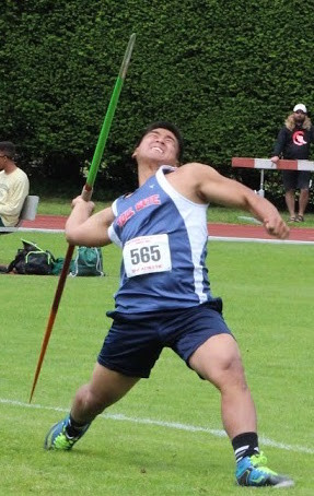 UP IN THE AIR: Toll Gate's Steven Pahm launches his javelin.