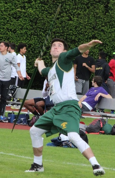 PREPARING TO LAUNCH: Hendricken's Alex Mulvey , who placed 18th in the javelin, takes aim.