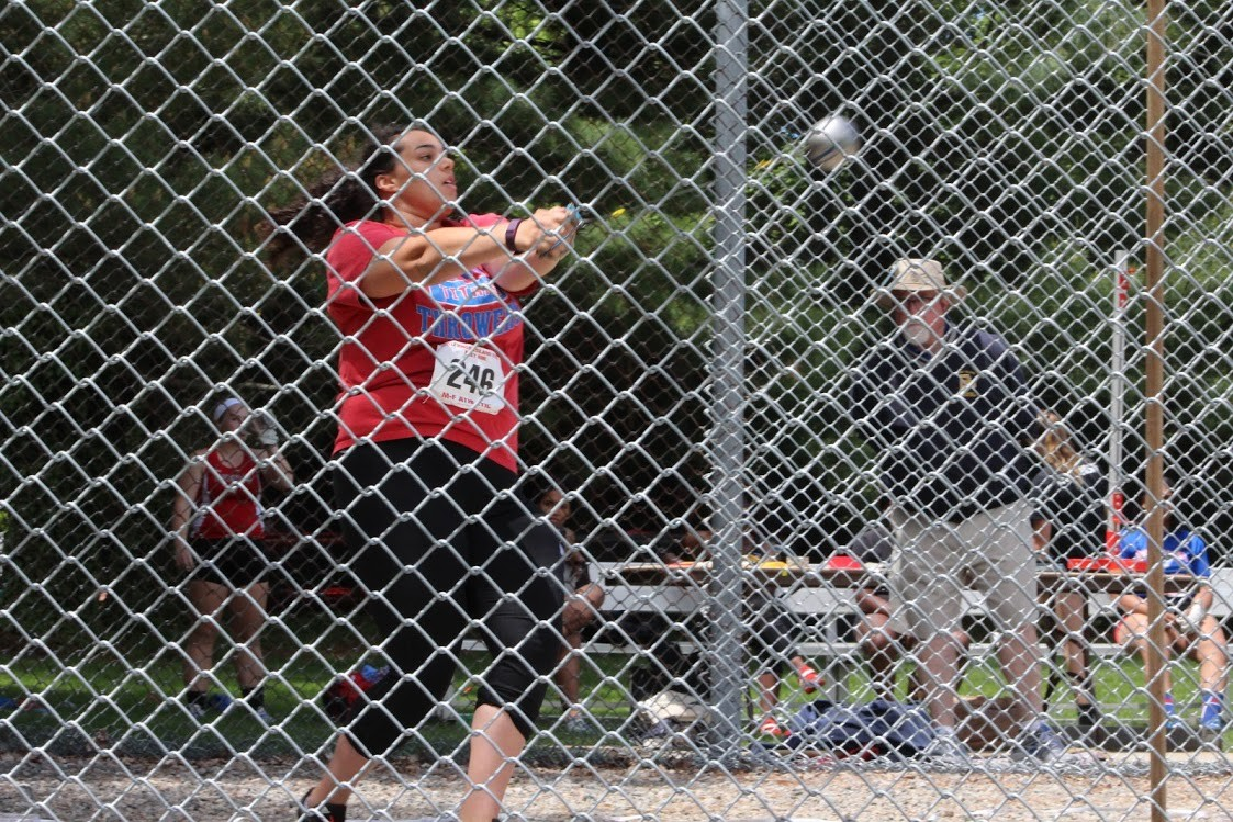 HELPING THE TEAM: Toll Gate's Jasmine Gallo-Fusco took part in the hammer throw during the state meet this weekend, helping Toll Gate finish fourth out of 19 teams with a total of 47 points. Teammate Ani Armenakyan took sixth in the same event.