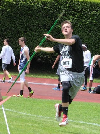 MAKING HIS APPROACH: Pilgrim's Austin Conners, who placed 11th in the javelin, readies for a toss.