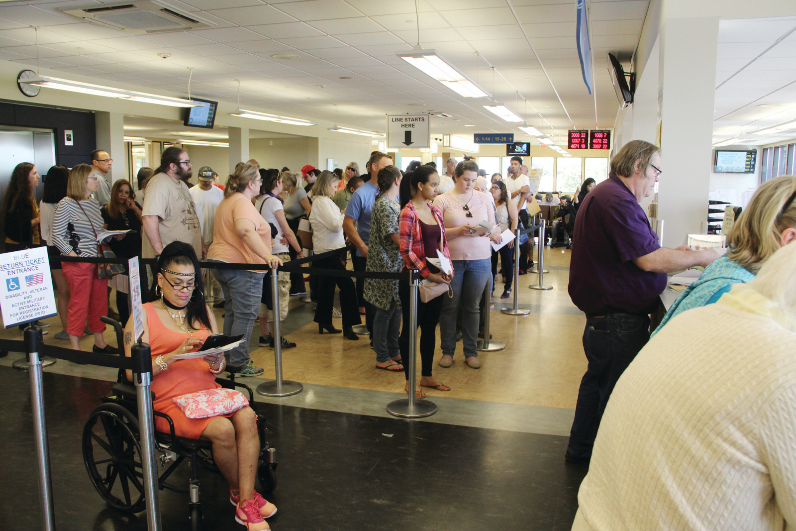 THE DMV EXPERIENCE: The wait at the main branch of the DMV in Cranston was about 90 minutes Friday. The branch completes about 17,000 transactions monthly, which should happen faster as a new computer system comes online starting July 5.