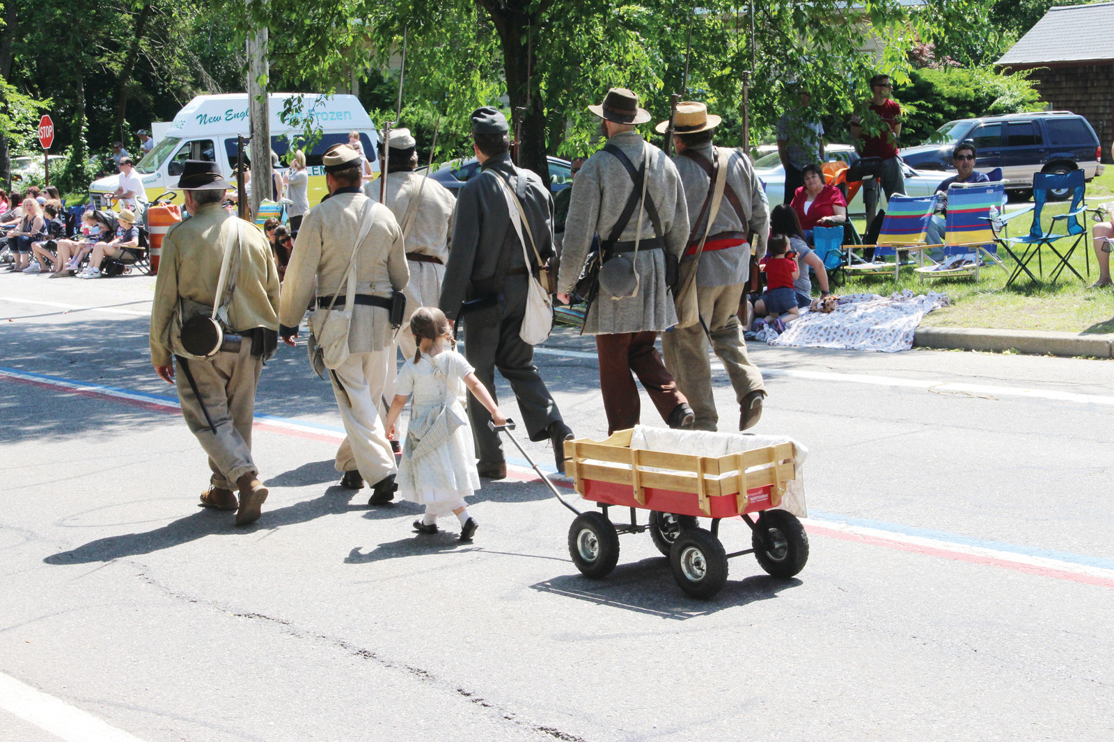 BRINGING UP THE REAR: A wagon was ideal for this young participant to bring along the water for the marching militia.