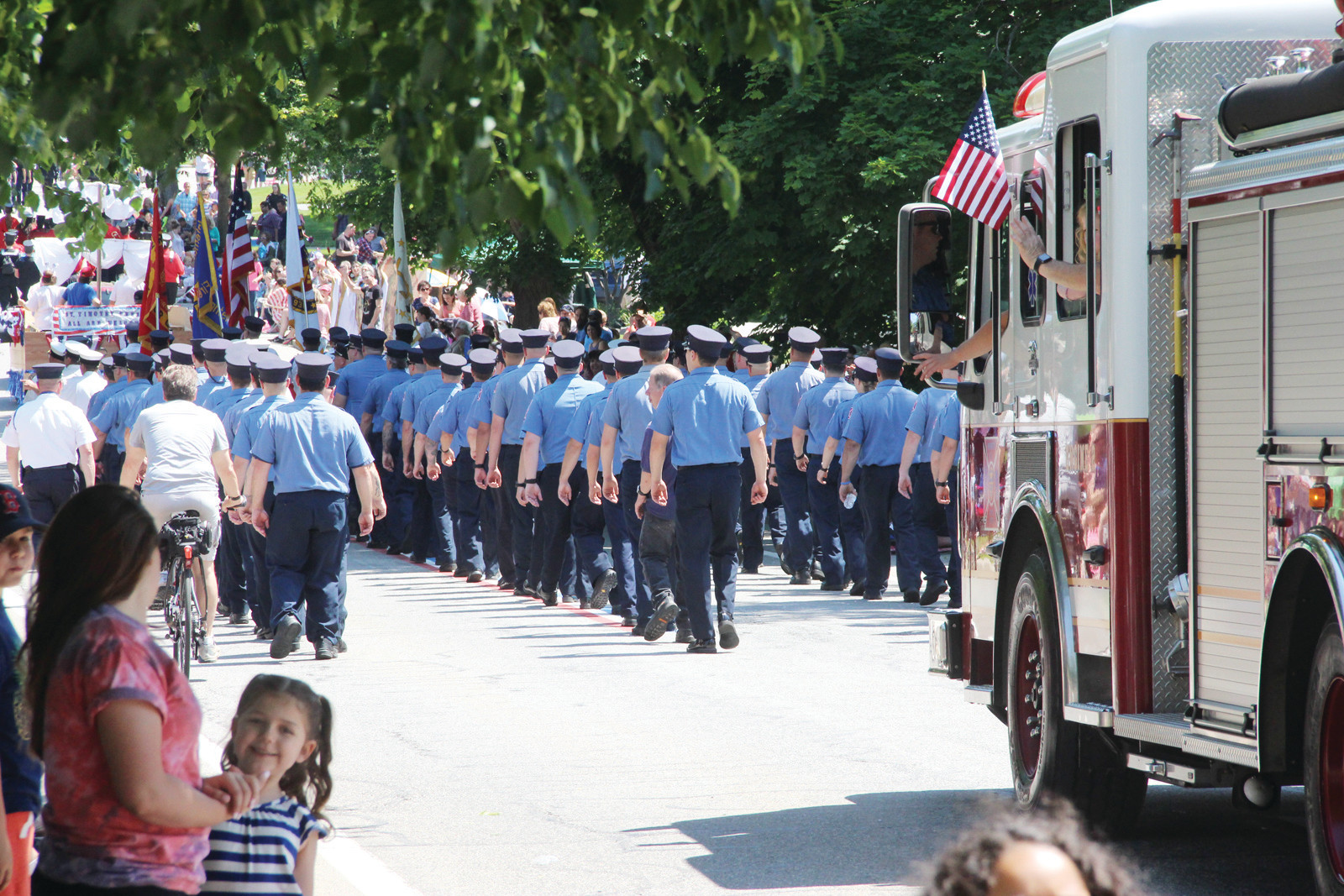 LONG BLUE LINE: Warwick firefighters turned out in numbers to represent the city.
