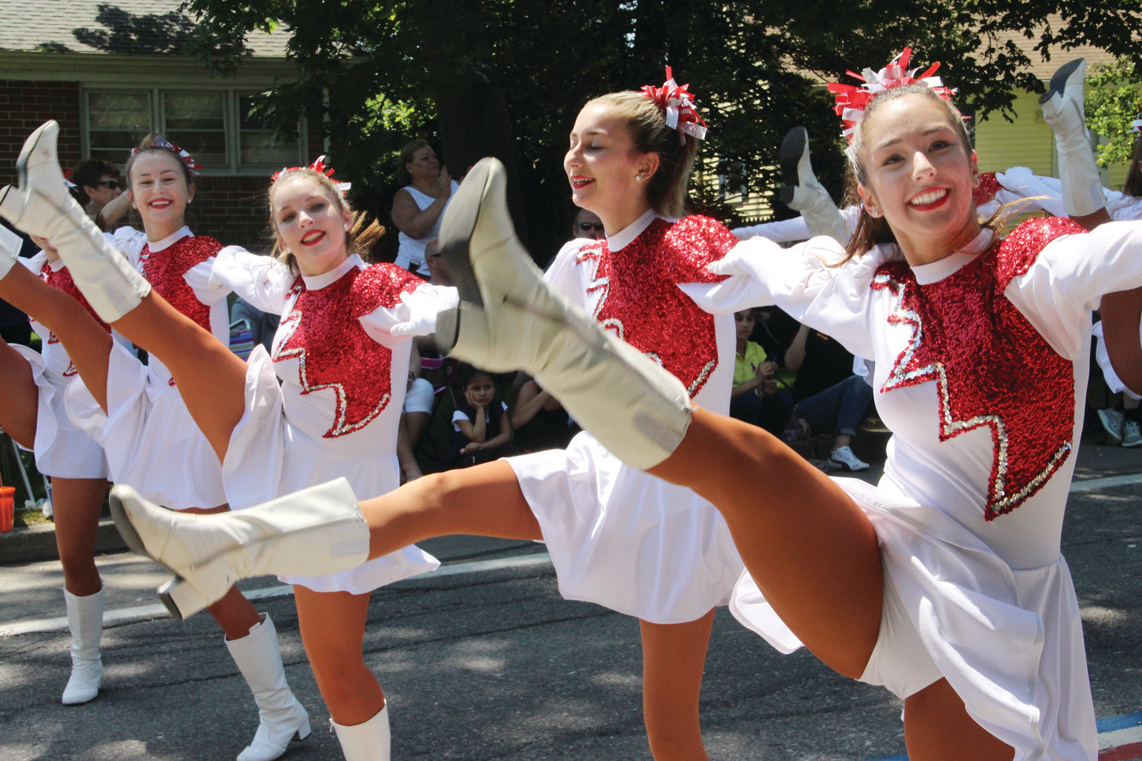 HIGH STEPPING: The Cranston West Falconettes put on a high stepping show.