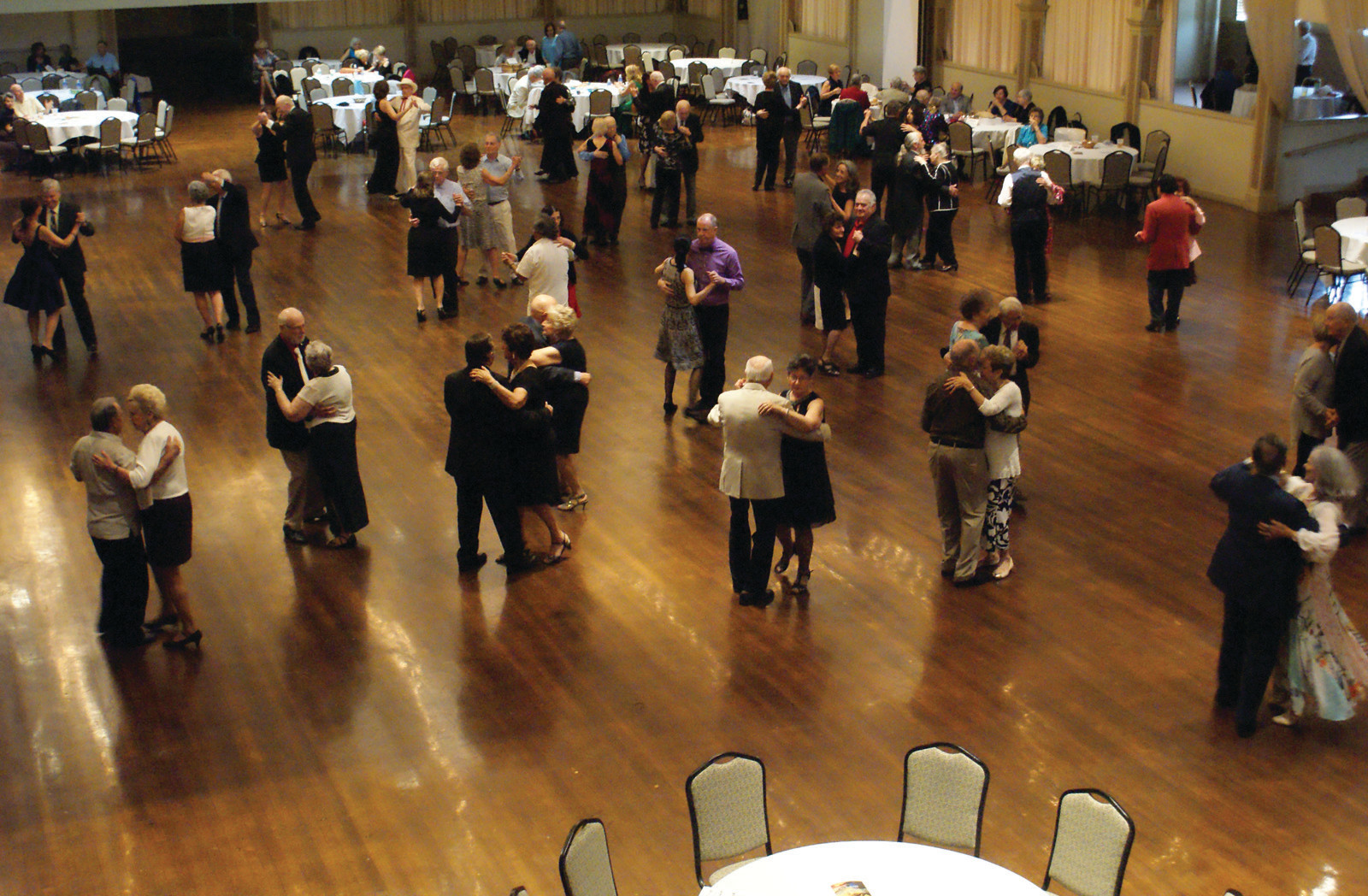 A NIGHT OF MUSIC AND DANCE: Pictured dancing are just some of the 500 people who attended the Spring Edition of the Cavalcade of Bands at Rhodes on the Pawtuxet on May 30.