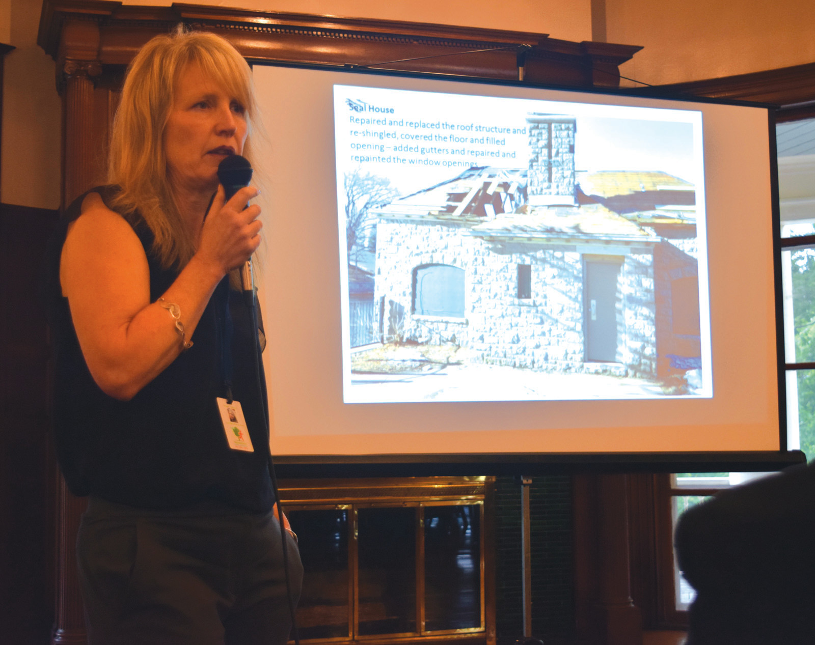ADDRESSING THE CROWD: Providence Parks and Recreation Superintendent Wendy Nilsson was on hand to answer questions from Cranston and Providence residents at the Conservancy meeting on Thursday.