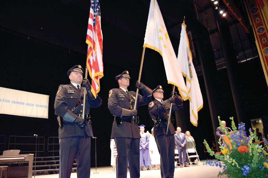 HONORABLE SERVICE: Deputy Chief Daniel Parrillo, Major Joseph Razza and Captain Thomas Dolan served as honor guard.