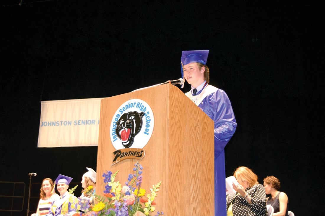 Salutatorian Adam Bouchard spoke about good deeds and paying it forward.