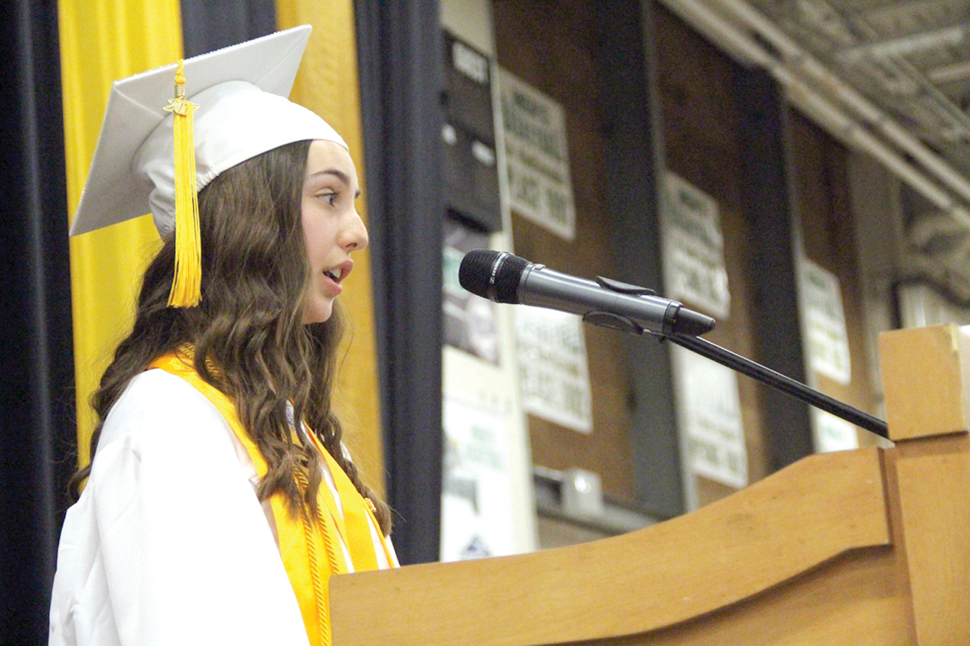 Salutatorian Chelsea Faith Lavallee spoke about how her classmates responded with the consolidation of Vets students.