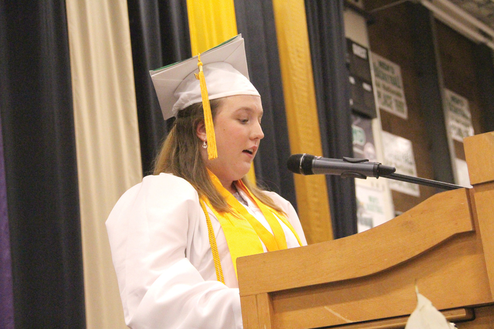 HAVE CONFIDENCE: Valedictorian Alexandrea C. Pouliot, who will be attending MIT in the fall, urged her classmates to have the confidence to be themselves.