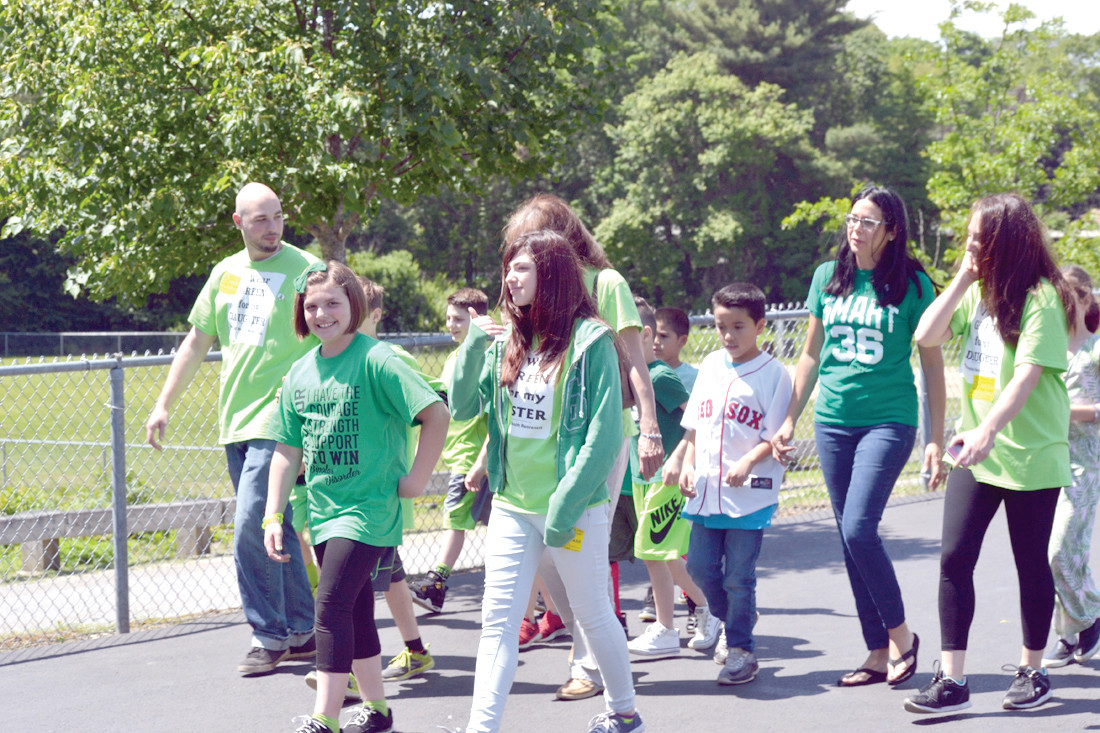 LEADER OF THE PACK: Gabby Pascale was at the front of the line as she led students and teachers around the school during her Mental Health Awareness walk.