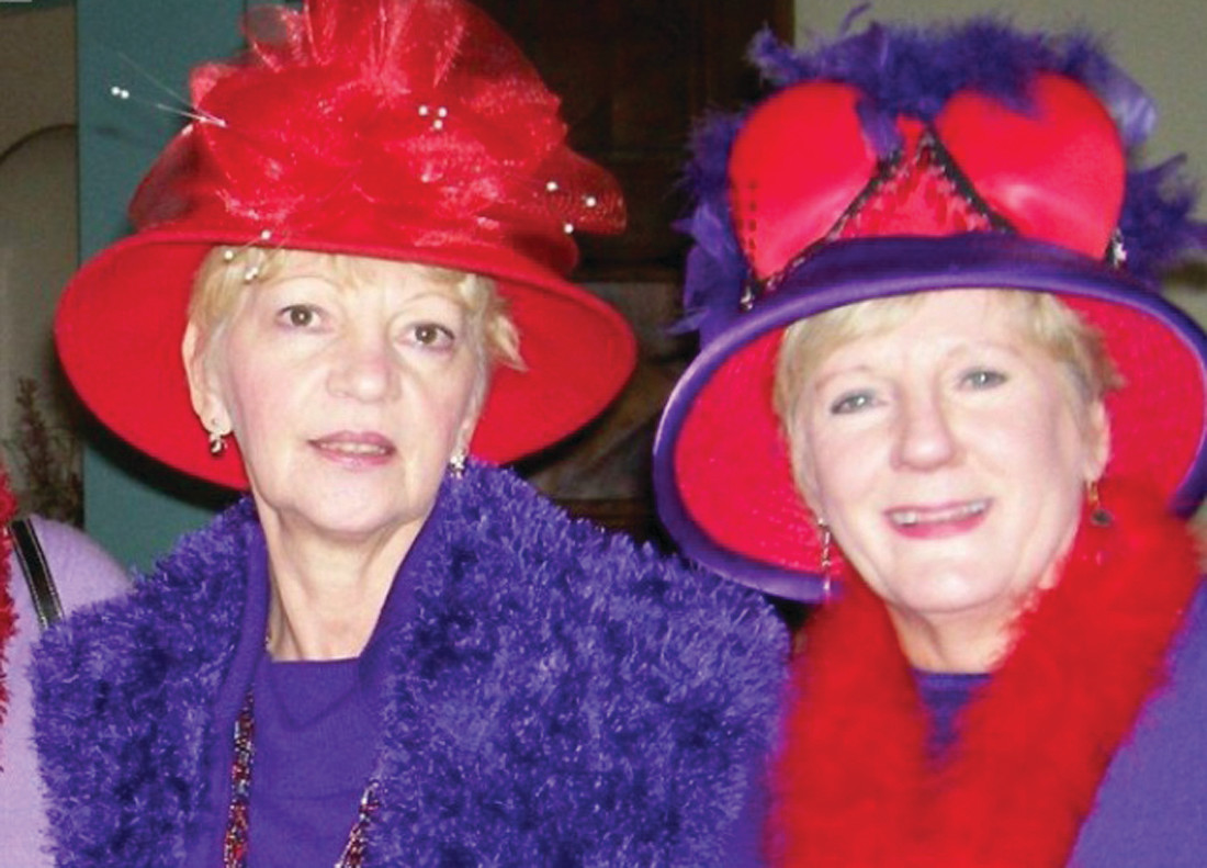 Rhody Red Hatter Ellen Conlon and Queen Mary Kinsey.