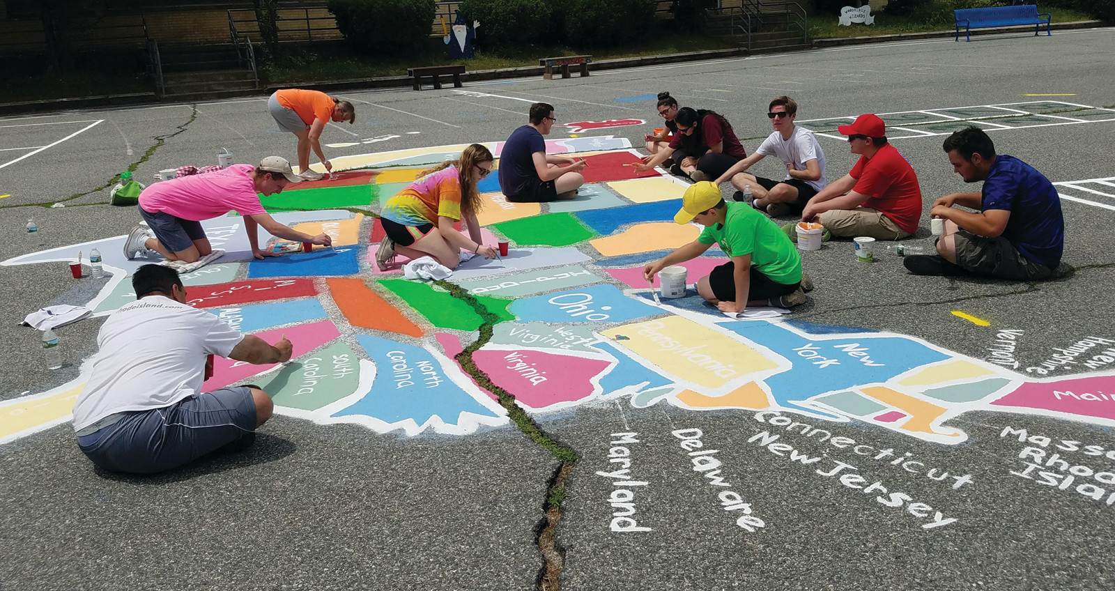 FUTURE EAGLE SCOUT: Jeffrey Marchetti, a Woodridge Elementary School alumnus, chose to redo the blacktop artwork for the current students and those of future generations to enjoy as his Eagle Scout project.