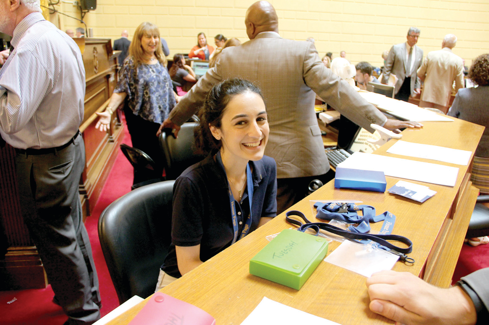 AHEAD OF THE GAME: Allie Saker, of Johnston, began her work as a page at 16. Now 21, she recently finished up her last session as a head page, moving up through the ranks due to her dedication and positive attitude.