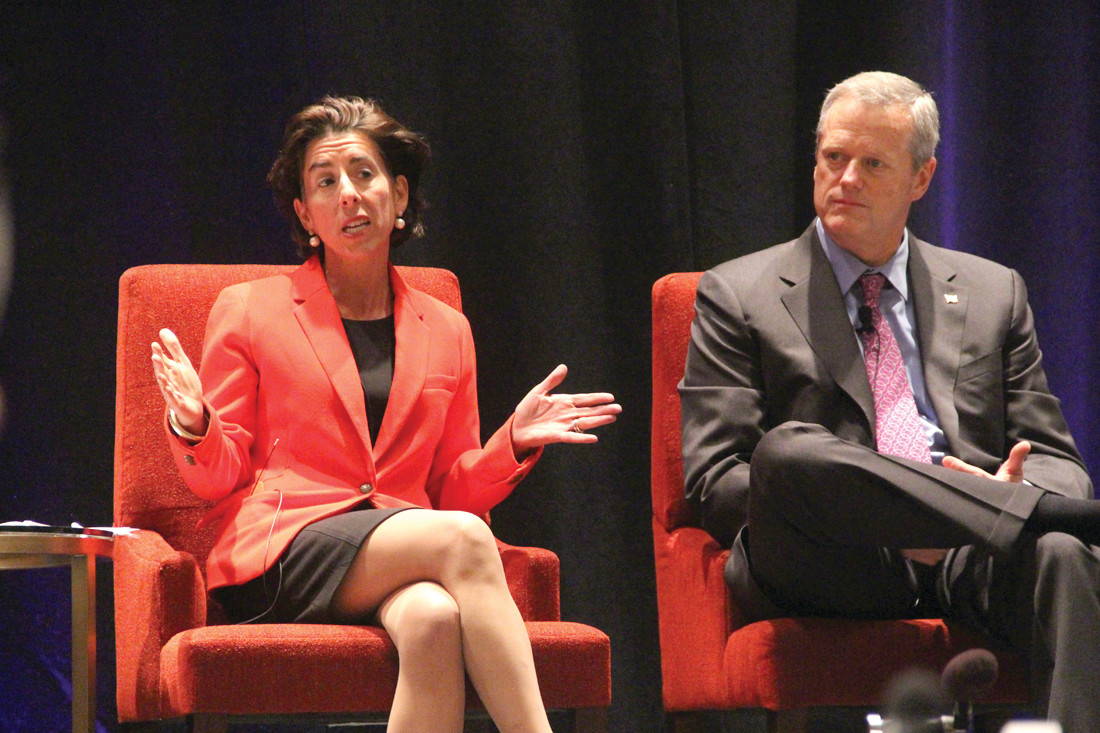 Governor Gina Raimondo with Massachusetts Governor Charlie Baker at the National Governors Association meeting.