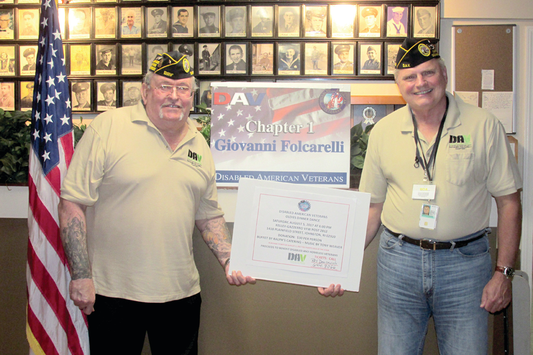 "TERRIFIC TICKET: Folcarelli DAV Chapter 1 Commander John ""Jack"" Hill (left) and adjutant-treasurer Ray Denisewich hold an enlarged ticket for the all-important Aug. 5 Dinner Dance that will be held at the Kelley-Gazzerro VFW Post 2812 on 1418 Plainfield Pike."