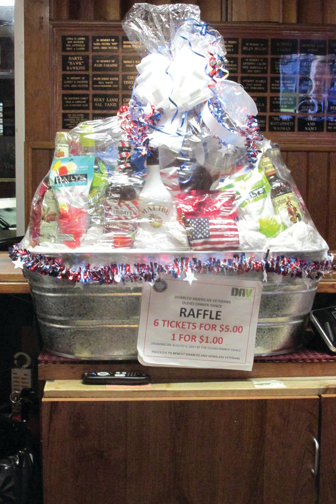 ROBUST RAFFLE: This is the oversized liquor basket that Giovanni Folcarelli VFW Post 2812 will raffle off on Saturday, Aug. 5 during a Rock 'n' Roll Dinner Dance that will benefit homeless and disabled veterans.